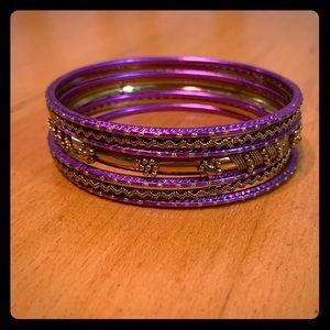 🌻 3/$15 Purple and Gold Bangle bracelets